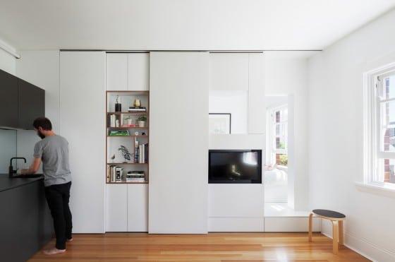 Diseño de estante para sala de departamento