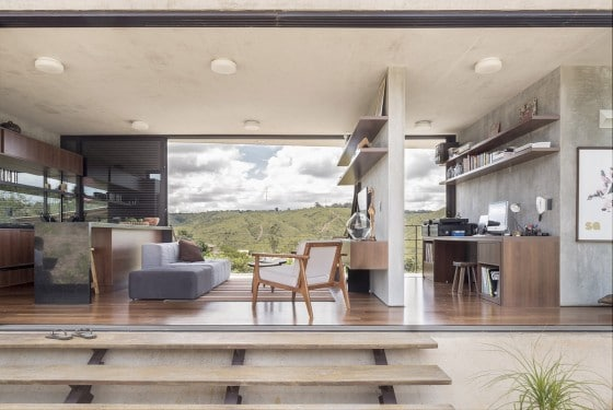 Diseño de interiores de casa de hormigón