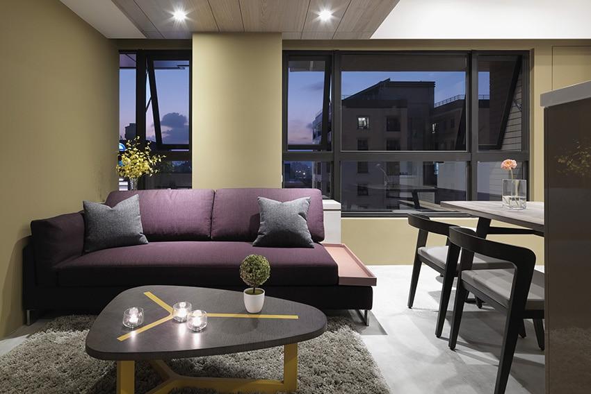 Departamentos peque os 55 metros cuadrados for Salas en l modernas