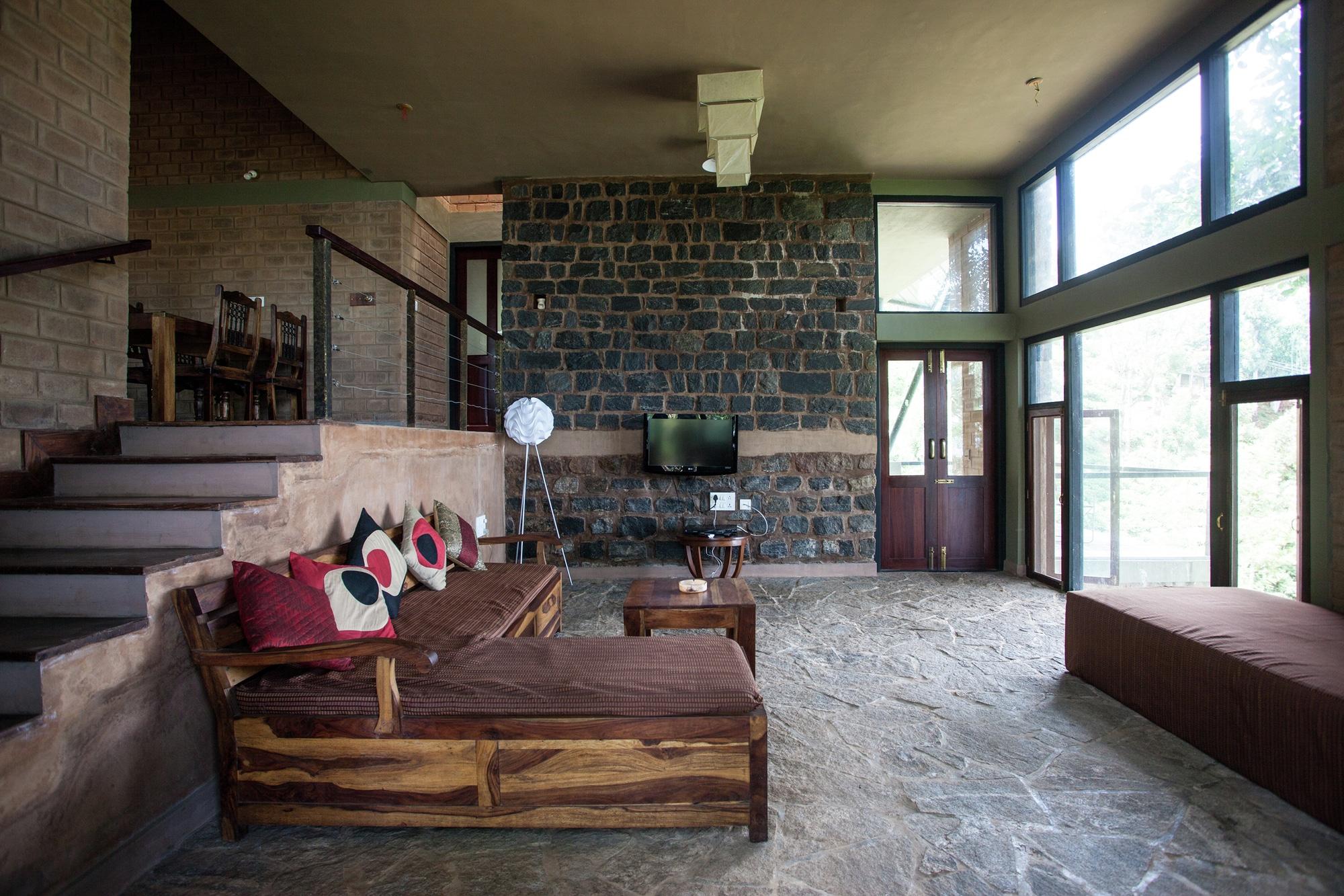 Dise o casa campo moderna estructura construye hogar for Sala rustica moderna