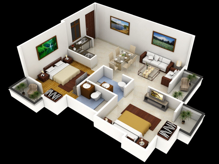 Planos de departamentos dos dormitorios for Diseno habitaciones