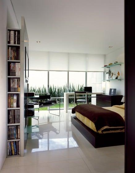 Diseño dormitorio ventanas grandes