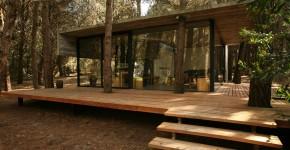 Plano de casa de campo de concreto y madera