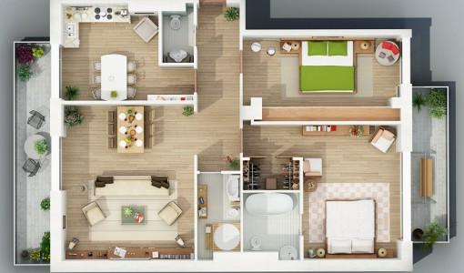 Departamentos peque os construye hogar for Modelo de departamento pequeno