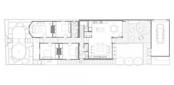 Plano de casa de un piso y tres dormitorios