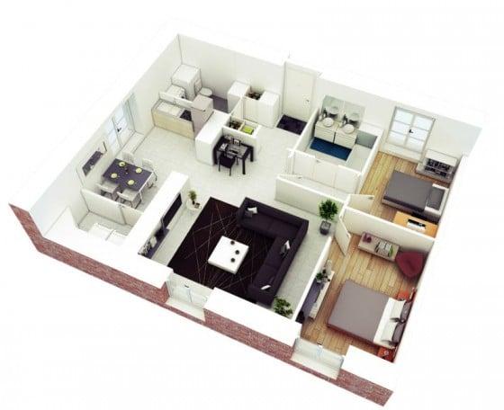 Plano 3D 2 dormitorios
