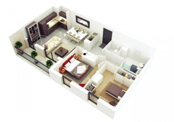 Departamento pequeño de forma rectangular