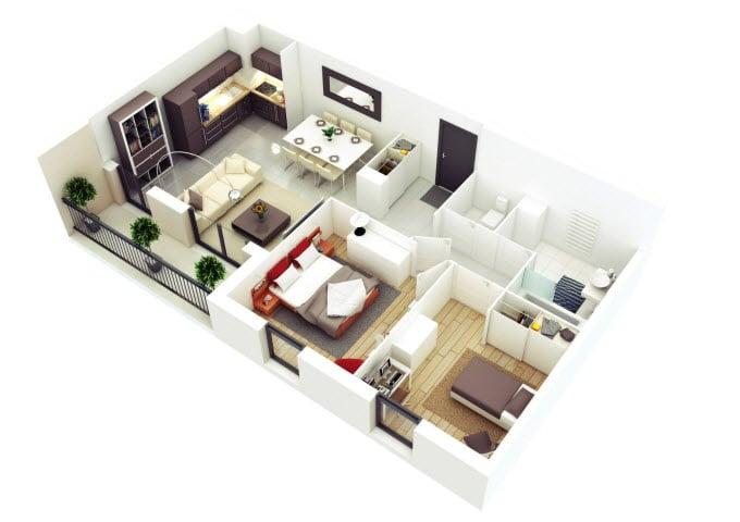 Planos de departamentos dos dormitorios for Distribucion departamentos modernos