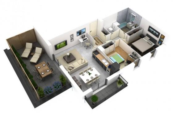 Apartamento con terrazas