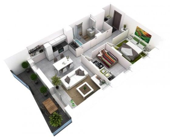 Plano de departamento con terraza
