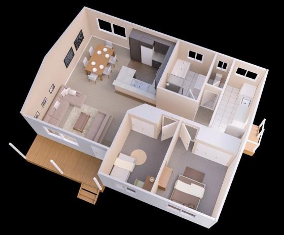 Idea de plano casa pequeña 2 dormitorios