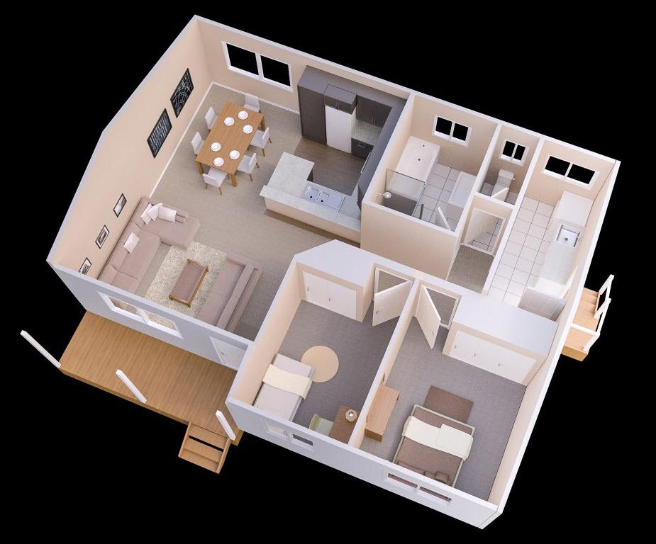 planos de casas pequenas de una planta con 2 habitaciones