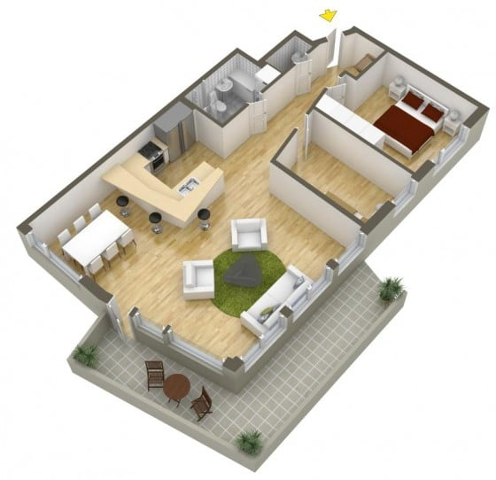 Diseño de departamento moderno con amplia sala - comedor