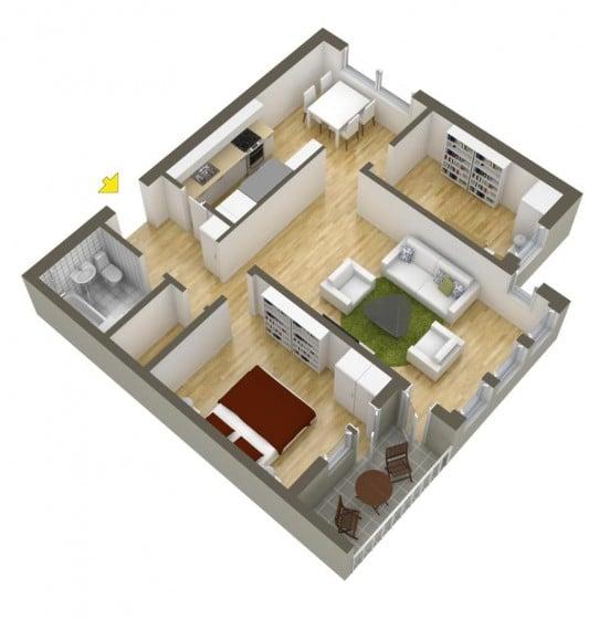 Plano de departamento pequeño de forma cuadrada