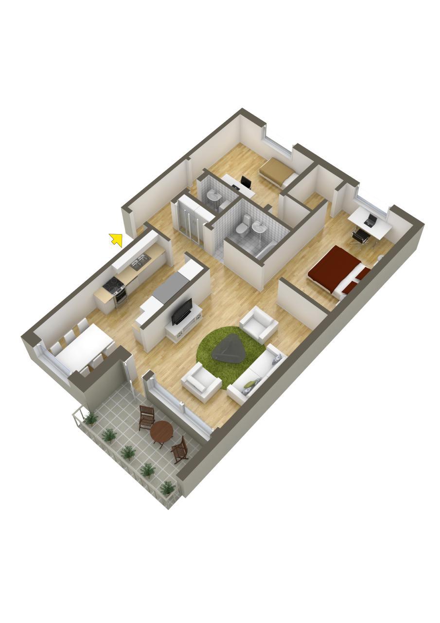 Planos de departamentos dos dormitorios for Diseno de apartamento de una habitacion