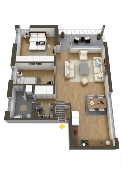 Plano de apartamento pequeño de dos dormitorios un cuarto de baño