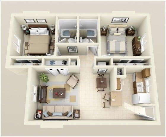 Plano casa pequeña dos dormitorios dos cuartos de baño