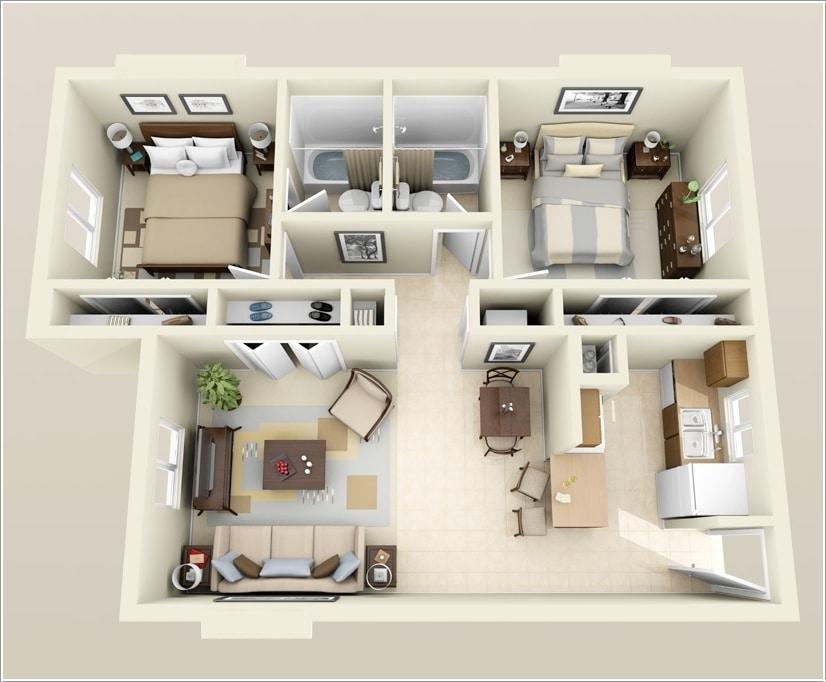 Planos de departamentos dos dormitorios construye hogar for Cuarto 4x4 metros