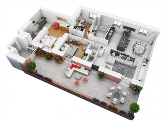 Plano de apartamento grande con amplia terraza