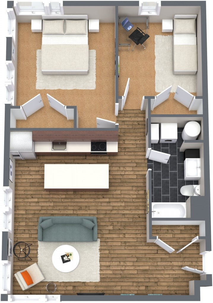 Planos de departamentos dos dormitorios construye hogar for Disenos para departamentos