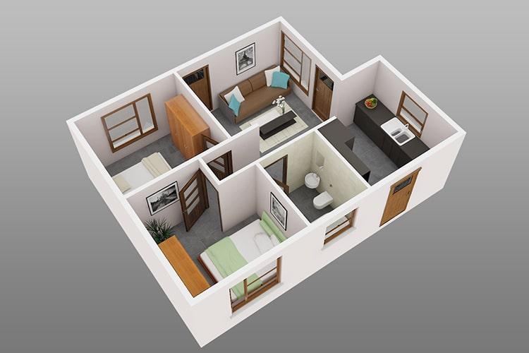 Planos de departamentos dos dormitorios for Planos de casas pequenas en 3d