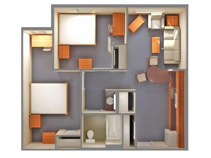 Planos de departamentos dos dormitorios for Diseno de habitacion con bano y cocina