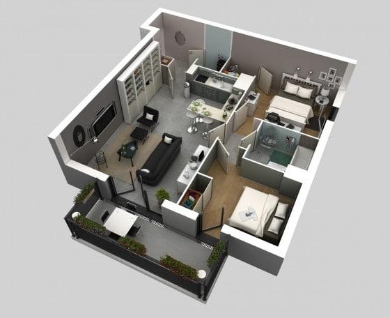 Plano casa pequeña dos habitaciones 03