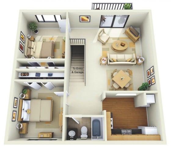 Plano 3D apartamento de dos habitaciones