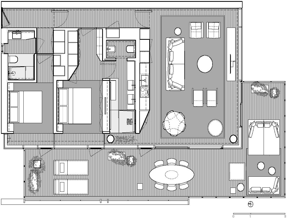 Plano departamento peque o dos dormitorios construye hogar for Plano departamento 2 dormitorios