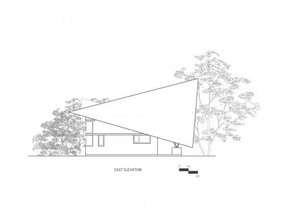 Plano de elevación Este casa de campo