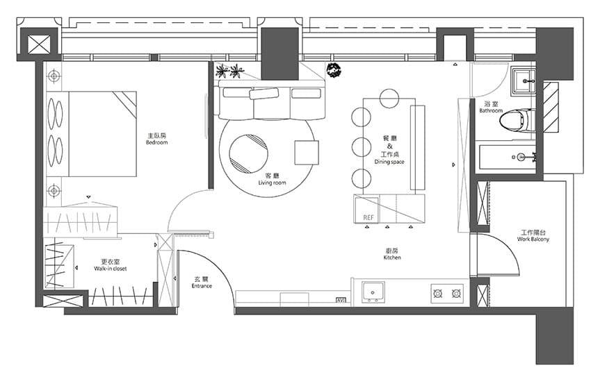 Departamentos peque os 55 metros cuadrados for Plano departamento 2 dormitorios