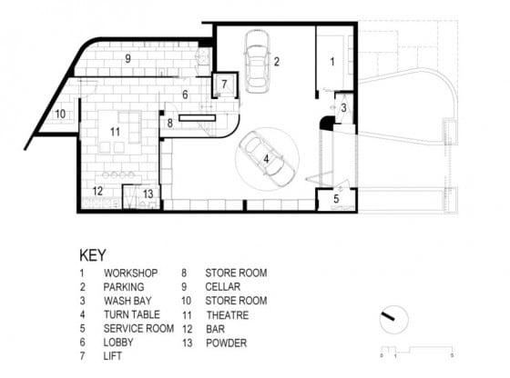 Plano sótano de casa de dos pisos