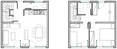 Planos de casas de dos pisos muy pequeñas 01