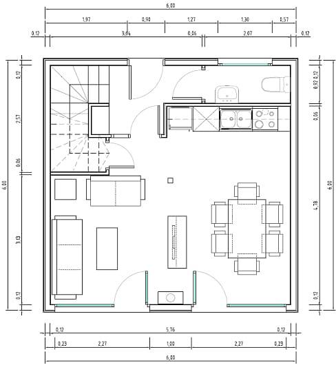 Planos de casas muy pequeñas de 30 metros cuadrados
