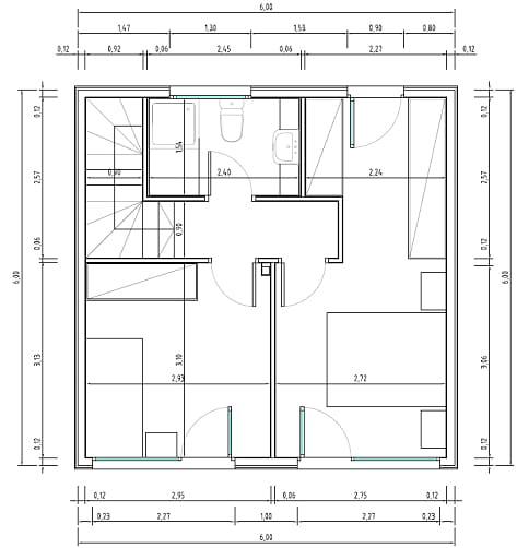 Planos de casas muy pequeñas de dos pisos, dos dormitorios
