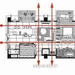 Planos de corte y ventilación de departamento pequeño