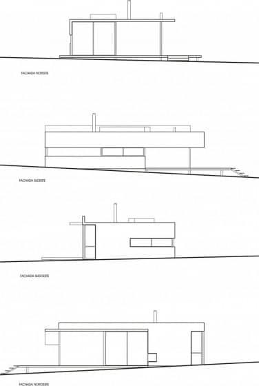Planos de elevación de casa de campo
