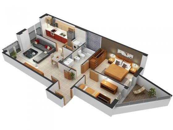 Planos de departamentos dos dormitorios for Planos de casas medianas