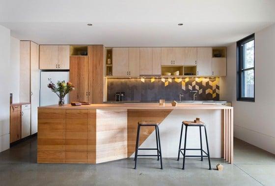 Diseño de cocina de madera moderna