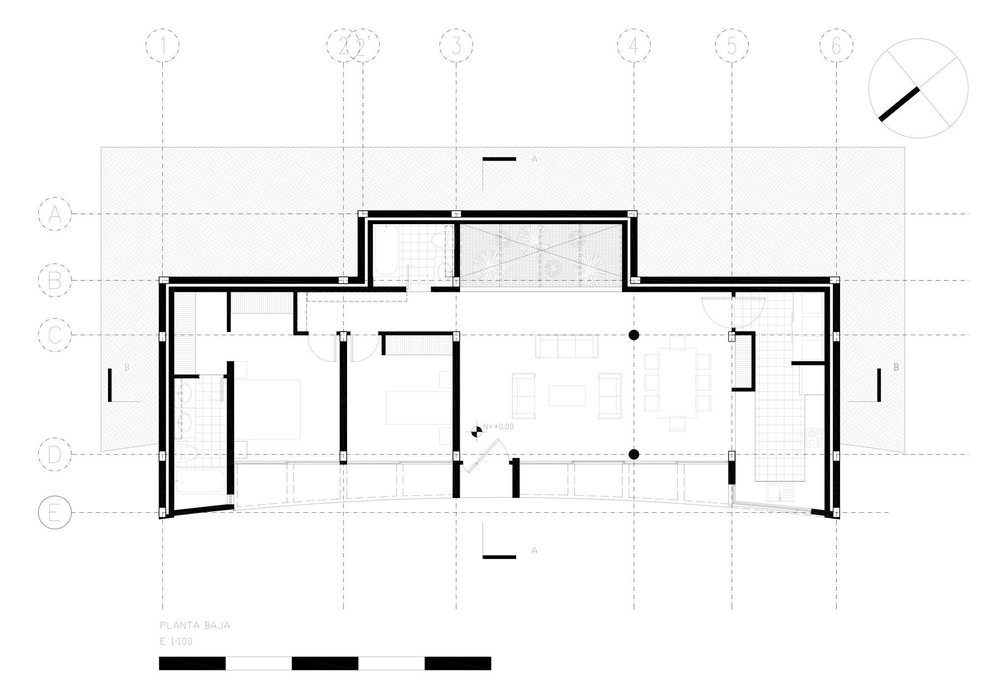 Casa una planta moderna con techo verde for Plano casa una planta