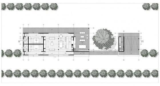Plano de casa de campo de un piso