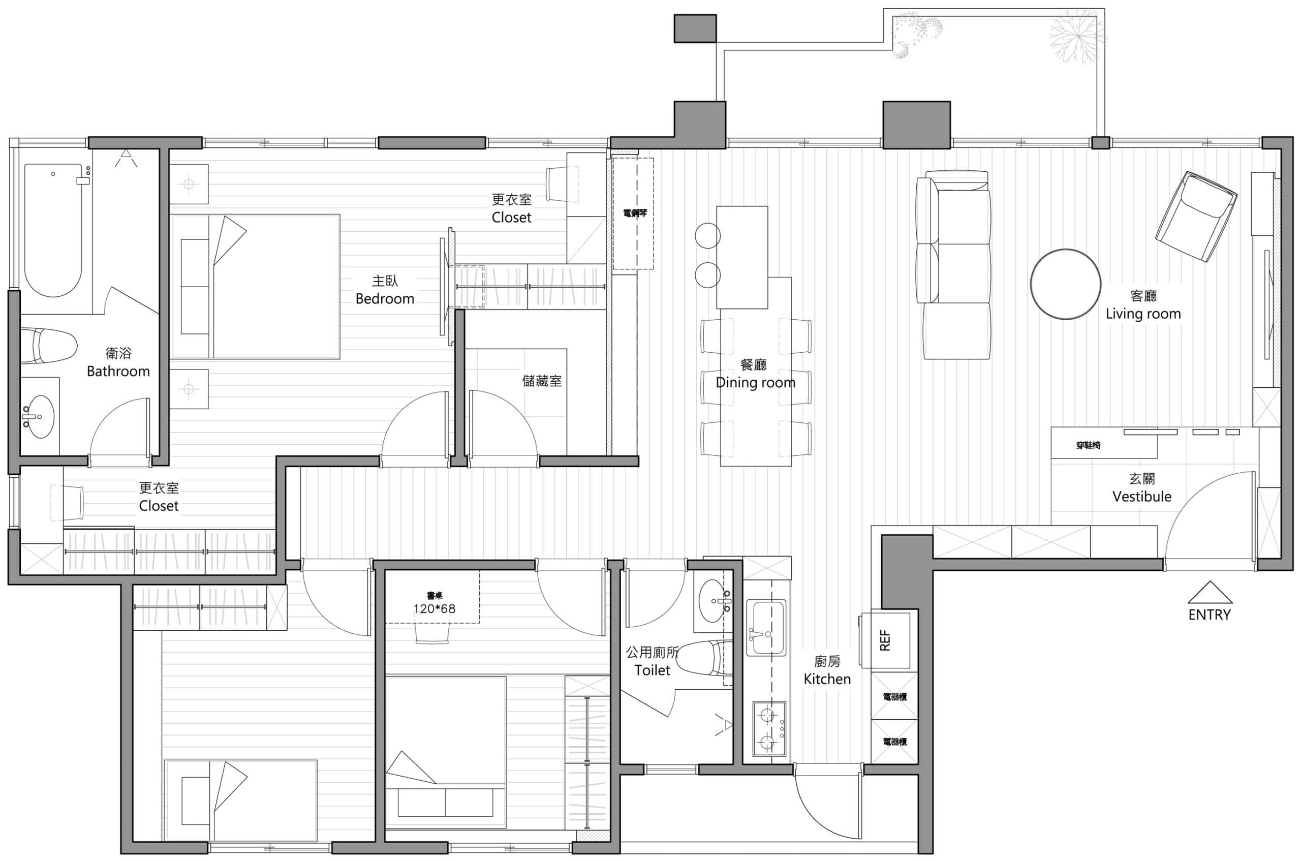 Plano y dise o de interiores departamento construye hogar for Planos de casas modernas de 3 dormitorios