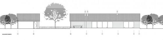 Plano de elevación Poniente casa campo