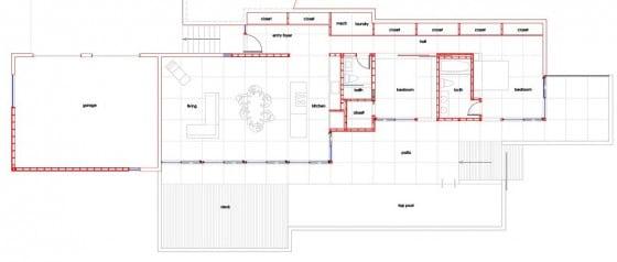 Plano de planta de casa campo un piso
