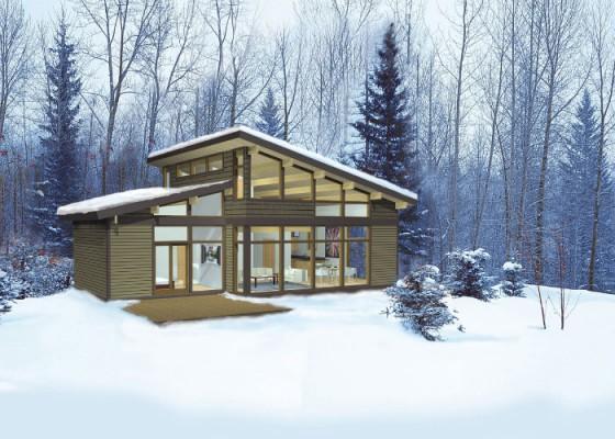 Casa de campo pequeña construida en madera