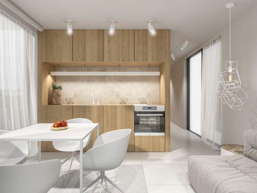 Casa sencilla de un piso en 46 m for Cocina comedor pequena