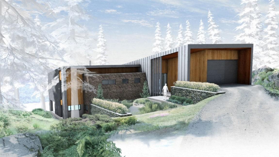Casa de campo moderna de dos pisos en desnivel for Fachadas de casas modernas a desnivel