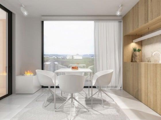 Diseño de comedor moderno cuatro sillas