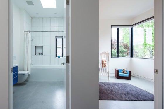 Diseño de cuarto de baño y dormitorio