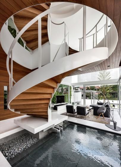 Diseño de escaleras modernas ovaladas
